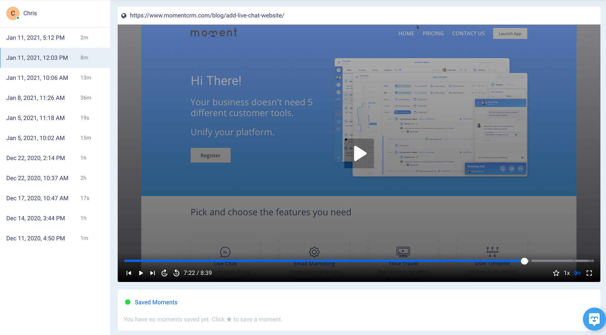 Live session replays for A/B testing